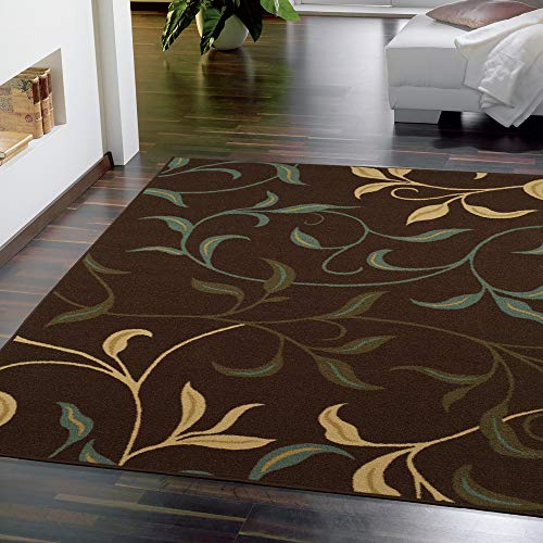 Ottomanson Brown Ottohome Contemporary Leaves Design Modern Area Rug with Non-Skid Rubber Backing 8'2