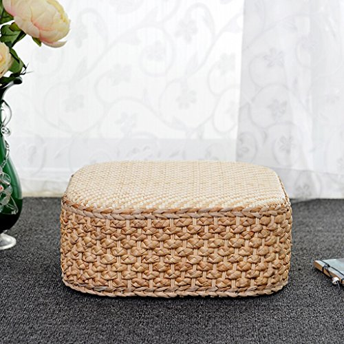 Creative Natural Hand-woven Pucao Stool, Japanese And Korean Style Multi-function Square Stool, Float Window Pad, Floor Mats, Seat Cushions, Yoga Mats, Padded Mats, Home Shoes, Stools, Footstools, Cof (Window Cushions Seat Bow)
