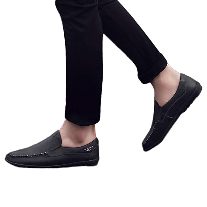 7ad66b50729 Men s Loafers Driving Boat Shoes Slip On Casual Moccasins Leather Flats  Slippers Dress Shoes (Black