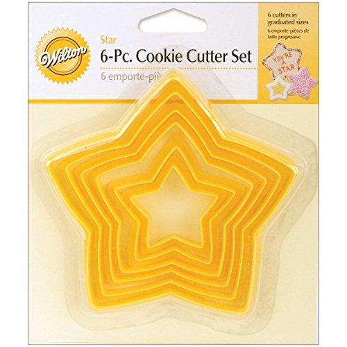 Qike Set of 6 Star Cutters, Biscuit Sandwich Fondant Cutter Set