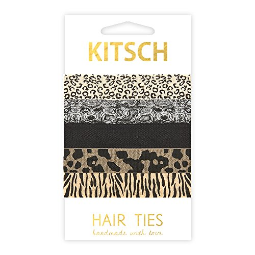 Kitsch 5 Piece Print Hair Ties Set, Safari (Safari Print Selection)