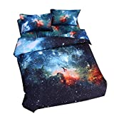 Cliab Galaxy Bedding Kids Boys Girls Twin Size Outer Space Duvet Cover Set 5 Pieces(Fitted Sheet Included)