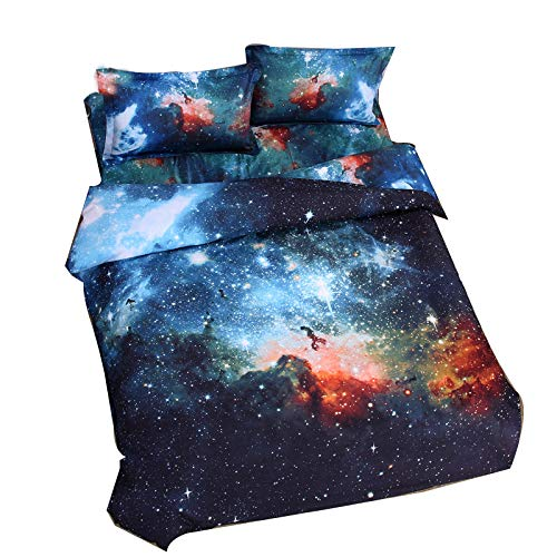 Cliab Galaxy Bedding Kids Boys Girls Queen Size Outer Space Duvet Cover Set 7 Pieces(Fitted Sheet Included) (Cool Queen Comforter Set)