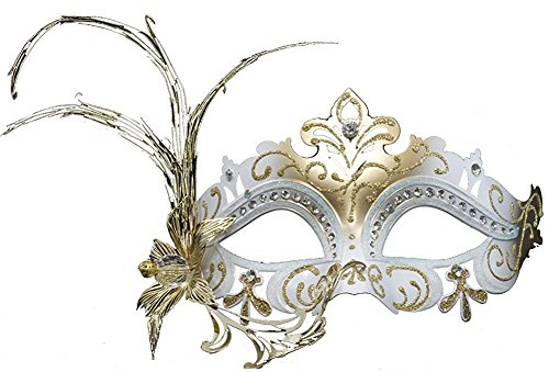 Hagora, Women's Moon Queen Black Gold Tone Fusion Laser Cut Metal Flower Mask,White Gold One Size fits Most