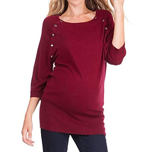 d32b980b15d3f 2019 Sale! Knotted Maternity Shirt Women Nursing Button Long Sleeves Casual Top  Breastfeeding Clothes Blouse