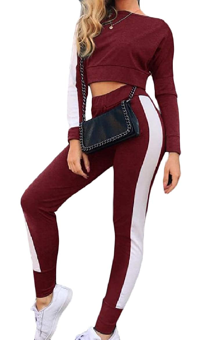 Abetteric Womens High Weekend Fitted Patchwork Long-Sleeve Cropped Track Set