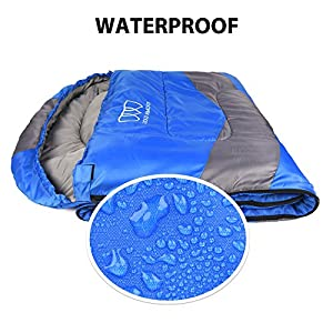 Sleeping Bag – Sleeping Bag for Indoor & Outdoor Use - Great for Kids, Boys, Girls, Teens & Adults. Ultralight and Compact Bags for Sleepover, Backpacking & Camping (Blue / Gray - Left Zipper)