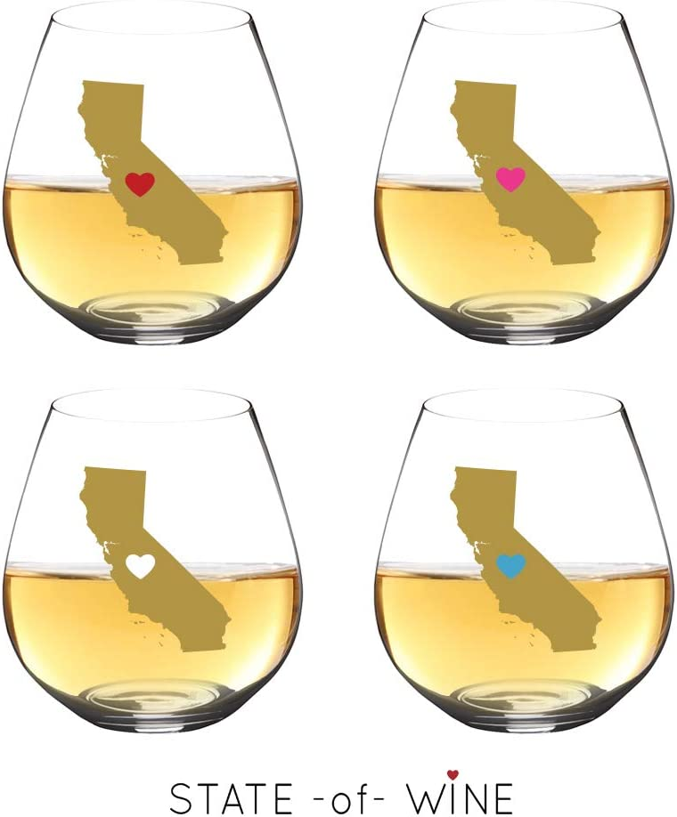 18oz State Wine Glasses with Heart | Unbreakable | Dishwasher Safe | Florida, Texas Wine Glass or California Wine Glass Gifts | Elegant Tritan Stemless Wine Glass |Reusable (CA | Multicolor Hearts, 4)