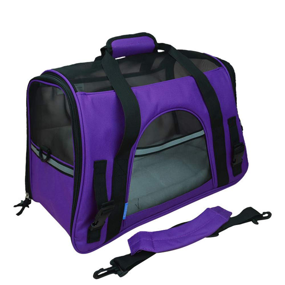 Purple L Purple L Yugoujiu Pet Travel Bag Dog Bag Cat Bag Teddy Carrying Bag Pet Bag Back Dog Bag Cat Out Bag Dog Bag,Purple,L