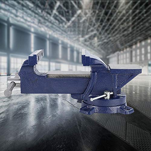 Table Vise Blue 360° Bench Vise Heavy Duty Locking Swivel Base 5 Inch with Anvil for Woodworking Sculpting Crafting
