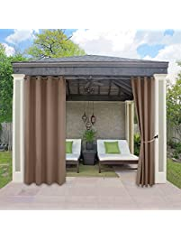 Awesome Outdoor Curtains Drapes For Porch   RYB HOME Water Repellent Exterior  Blackout Curtain Panel With Sliver