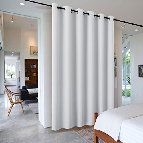 RYB HOME Sliding Door Curtains Room Divider Heavy Duty Portable Decorative Screen Share Space Partiton Drape for Patio Door/Clinic/Hospital/Office, W 10 x L 8 ft, Greyish White, 1 Panel (Patio Sliding Door For Drapes)