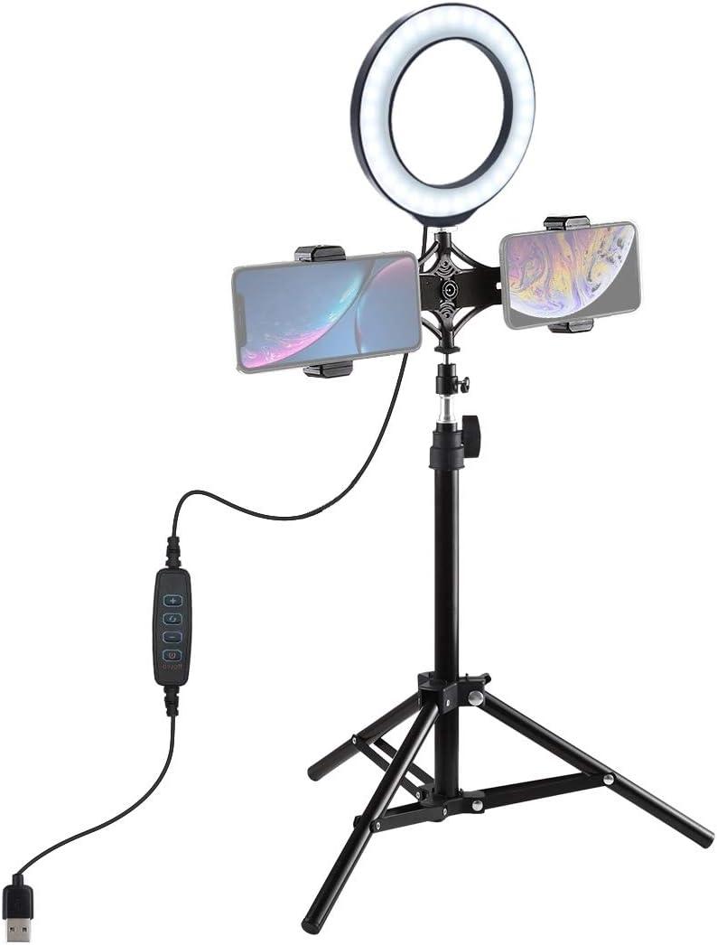 6.2 inch 16cm LED Ring Vlogging Video Light Kits Camera /& Photo 70cm Tripod Mount Live Broadcast Dual Phone Bracket