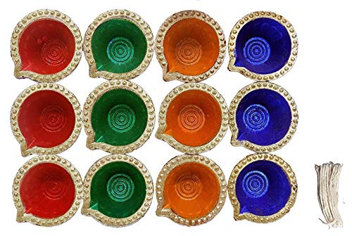 12 Pc Set of Diwali Gift/Diwali Decorations Diwali Diya. (Assorted Colors) Handmade Natural Earthen Oil Lamp/Welcome Traditional Diyas with Cotton Wicks Batti. Diwali Earthen Lamp. Oil lamp -