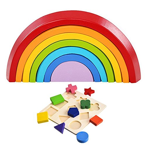 LiteBee Wooden Stacking Game Stacker Set (Rainbow Stacker + Shape Puzzle) Early Learning Toys, Geometry Building Nesting Blocks Puzzles Early Development Educational Toys for Kid Baby Toddler Infant by LiteBee