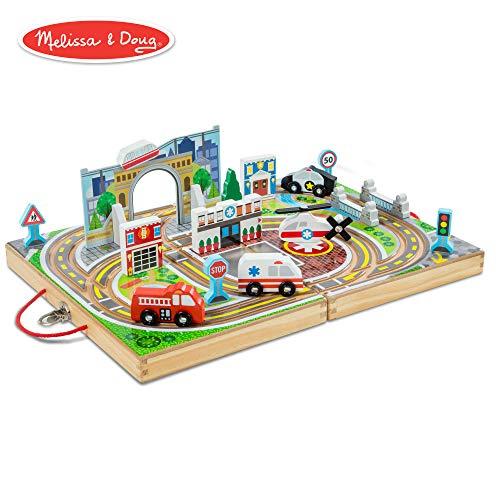 Town Blocks - Melissa & Doug Take-Along Town (Wooden Portable Play Surface, 18 Pieces)