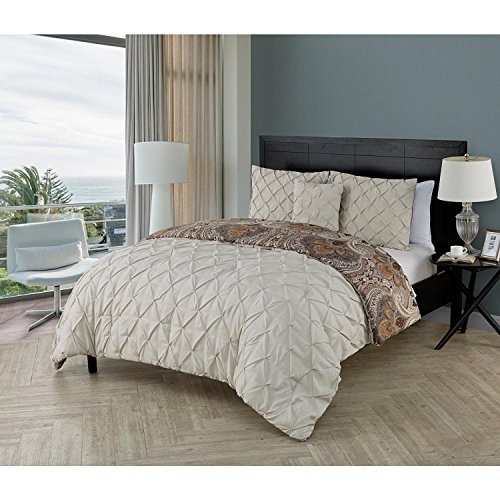 4pc Golden Beige Tan Brown Pleated Paisley Floral Scroll Comforter (Gold King Comforter)