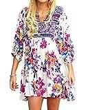 JOYCHEER Womens Floral Dresses Summer Beach Boho V Neck 3/4 Sleeve Casual Mini Dress Plus Size