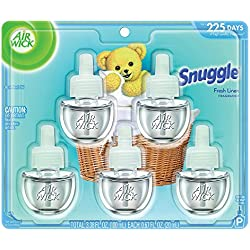 Air Wick Life Scented Oil Plug In Air Freshener Refills, Snuggle Fresh Linen Essential Oils, 5 Refills, 3.38oz