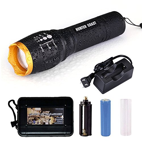 HUNTER COAST Ultra Bright Handheld Led Tactical Waterproof Flashlight Torch Portable with 5 Modes and Rechargeable Batteries