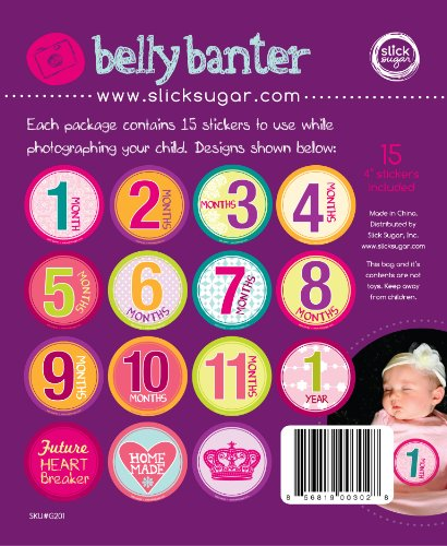 SlickSugar Belly Banter Baby Monthly Stickers for Girl