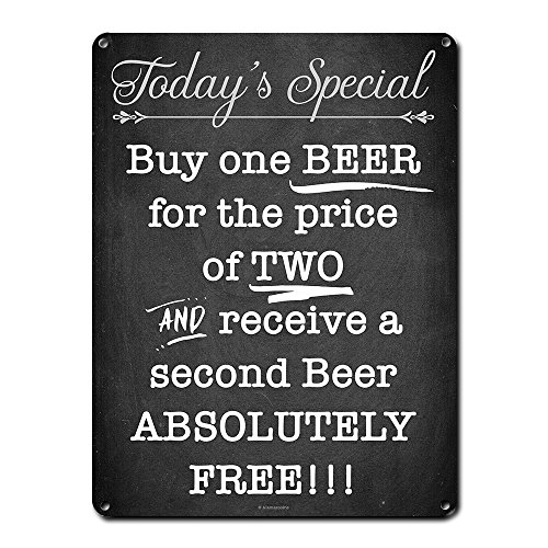 (Today's Special, Buy One Beer for the Price of Two, 9 x 12 Inch Metal Sign, Funny Beer Signs, Man Cave, Garage, Brewery, Pub, Bar, Decor and Gifts for Beer)