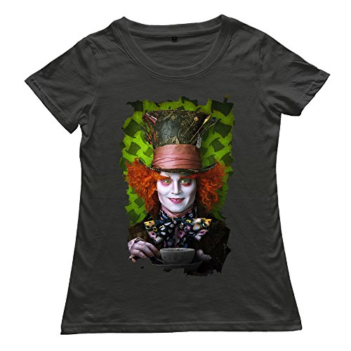 [McBr Womens MAD HATTER TEA A In Wonderland Fantasy Film T-shirts - Cool MAD HATTER TEA A In Wonderland Fantasy Film Black Size] (Female Mad Hatter)