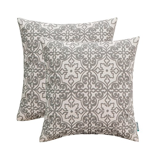 HWY 50 Grey Embroidered Decorative Throw Pillows Covers Set Cushion Cases for Couch Sofa Living Room 18x18 inch Gray Farmhouse Modern Elegant Floral Geometric Pack of 2