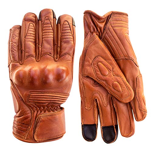 Premium Leather Motorcycle Gloves (Camel) Cool, Comfortable Riding Protection, Cafe Racer, Half Gauntlet with Mobile Touchscreen -