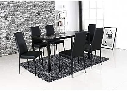 Juego de 1 mesa y 6 sillas de Lobos. Juego de diseño y moderno para tu cocina o comedor.: Amazon.es: Hogar