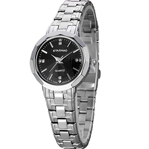 Stylish Woman Man Quartz Analog Wrist Watch Strip Dial Blue Band - 3