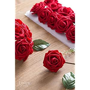 Ling's moment Artificial Flowers 50pcs Dark Red Roses w/Stem for DIY Wedding Bouquets Centerpieces Bridal Shower Party Home Decorations 2