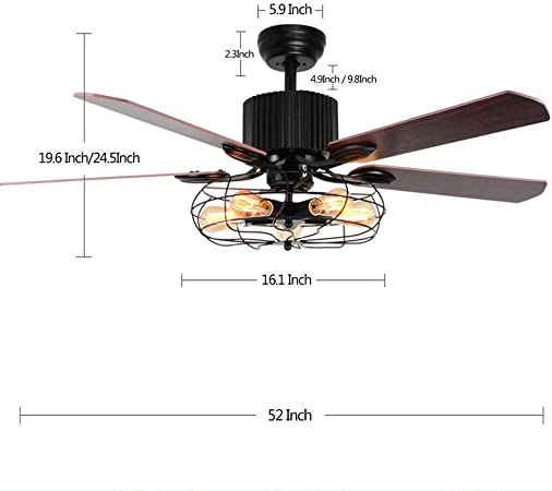 52 Inch Retro Industrial Ceiling Fan With Light 5 Wood Reversible Blade Chandelier Fan Remote Control Iron Cage Pendant Light Fan For Living Room Bronze Black Amazon Co Uk Kitchen Home