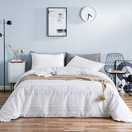YuHeGuoJi 100% Cottton 3 Pieces Duvet Cover Set Queen Size White and Gray Modern Geometric Pattern Printed Bedding Set 1 Aztec Duvet Cover with Zipper Ties 2 Pillowcases Luxury Quality Soft Durable (Patterned Grey Covers Duvet)