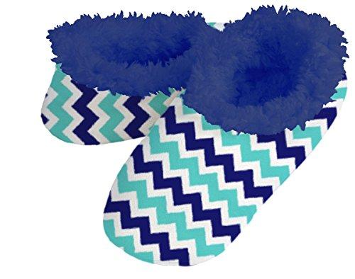 Snoozies Cool Geometric Fleece Lined Womens Footies (Medium, Navy Chevron)
