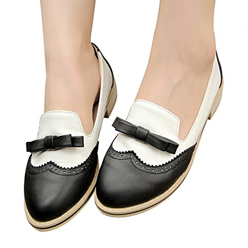 Shoes Heel Vintage Fashion Color Low Sweet Black Summer Candy Spring Bowknot Brogue Women's Oxfords wpxCZqv