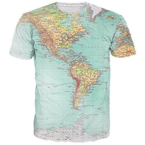 RAISEVERN Unisex 3d Map Printed Hip Hop Style T-Shirts, World Map, US X-Small / Asian Medium - Style World Map