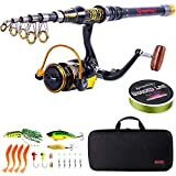 Sougayilang Telescopic Fishing Rod and Reel Combos Spinning Reel Fishing Pole Sets with Line Lures and Fishing Carrier Case