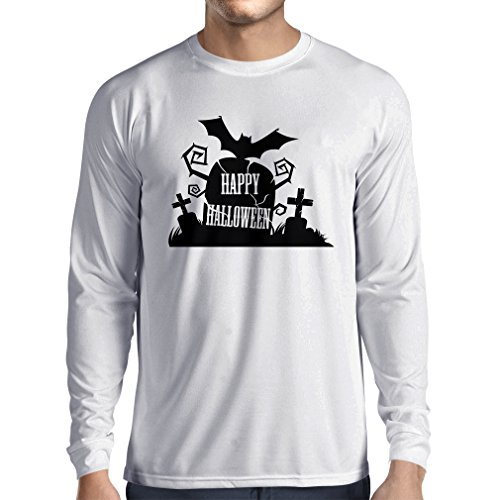[Long sleeve t shirt men Halloween Graveyard Outifts - Costume Ideas - Cool Horror Design (Small White Multi Color)] (Sock Hop Costume Ideas For Men)