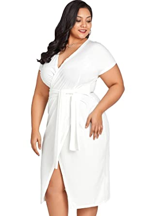 Jose Pally Women Plus Size Bodycon Dress V Neck Short Sleeve White Midi  Dress for Cocktail 5b2dfb8fb