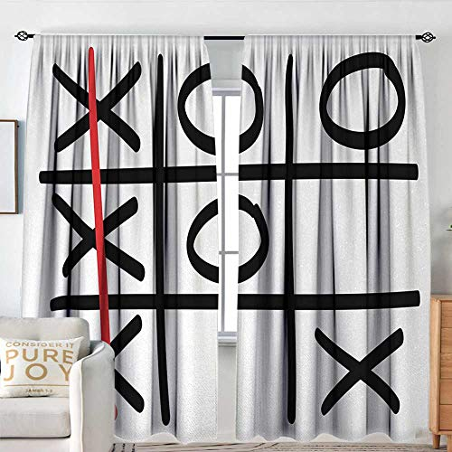 Victory Pattern Valance - Blackout Thermal Insulated Window Curtain Valance Xo,Popular Tic Tac Toe Game Pattern Hand Drawn Design Win Victory Finish Theme,Vermilion Black White,Rod Pocket Valances 54