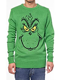 Dr Seuss Mens Sweater The Grinch Who Stole Christmas Face Knit Print (Medium)
