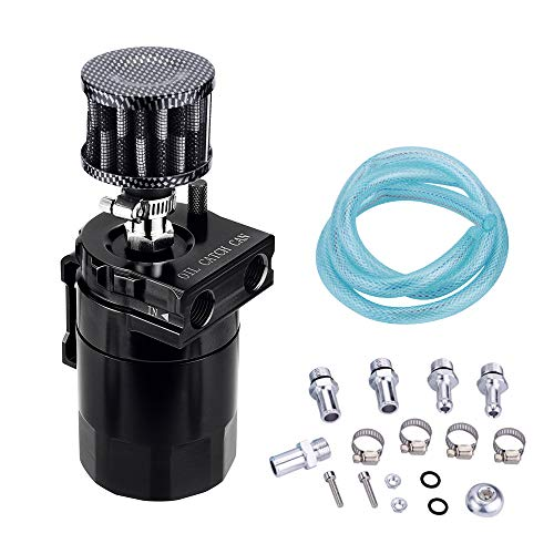 EVIL ENERGY Polish Baffled Universal Oil Catch Can Reservoir Tank Breather Filter Kit Aluminum (Catch Can Filter)