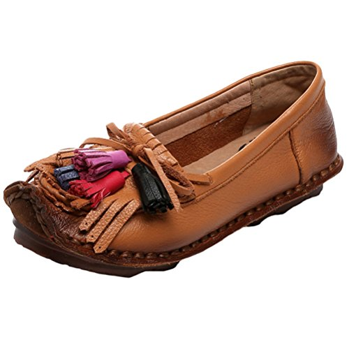 Mordenmiss Women's New Spring Summer Handmade Flower Pattern Leather Flat Shoes Moccasins Style 3 Khaki (Smoking Slipper Lace)