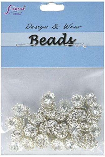 Linpeng 120 Piece Filigree Flower Bead Caps, Silver