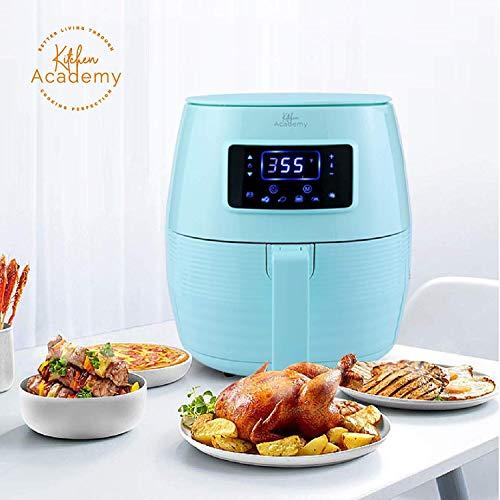(Kitchen Academy 5.8QT Digital Oil Free Air Fryer, Aqua Blue)