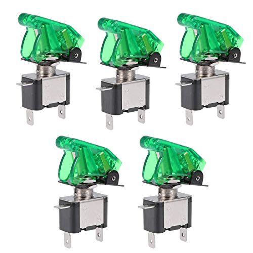 ZCHXD 5Pcs SPST Latching Rocker Toggle Switch Green LED Light 20A 12V 3P ON-Off with Green Security Cover