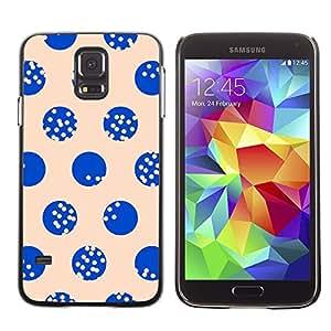 LECELL--Funda protectora / Cubierta / Piel For Samsung Galaxy S5 SM-G900 -- Dot Beige Blue Minimalist Pattern --