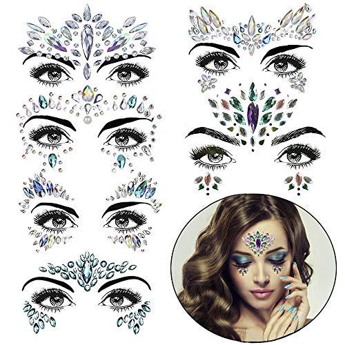 Face Jewels festival Rave Glitter Eye Body Rhinestone, 6 Sets Gems Sticker, bindi stickers for Women, Bindi Crystals Jewelry Decorations for Mermaid mardi gras blue