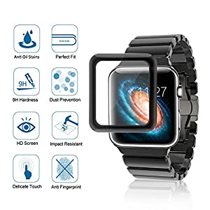 Apple Watch 38mm 3D Full Adhesive Screen Protector (Series 1, Series 2, Series 3), Atill Tempered Glass Screen Protector [Anti-scratch] [Bubble-free] for Apple iWatch from Atill